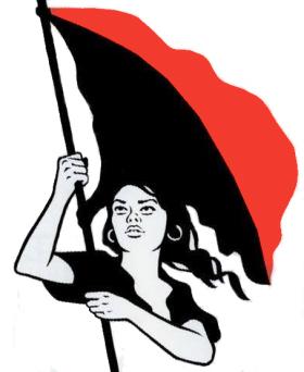 Frau mit schwarz-roter Fahne
